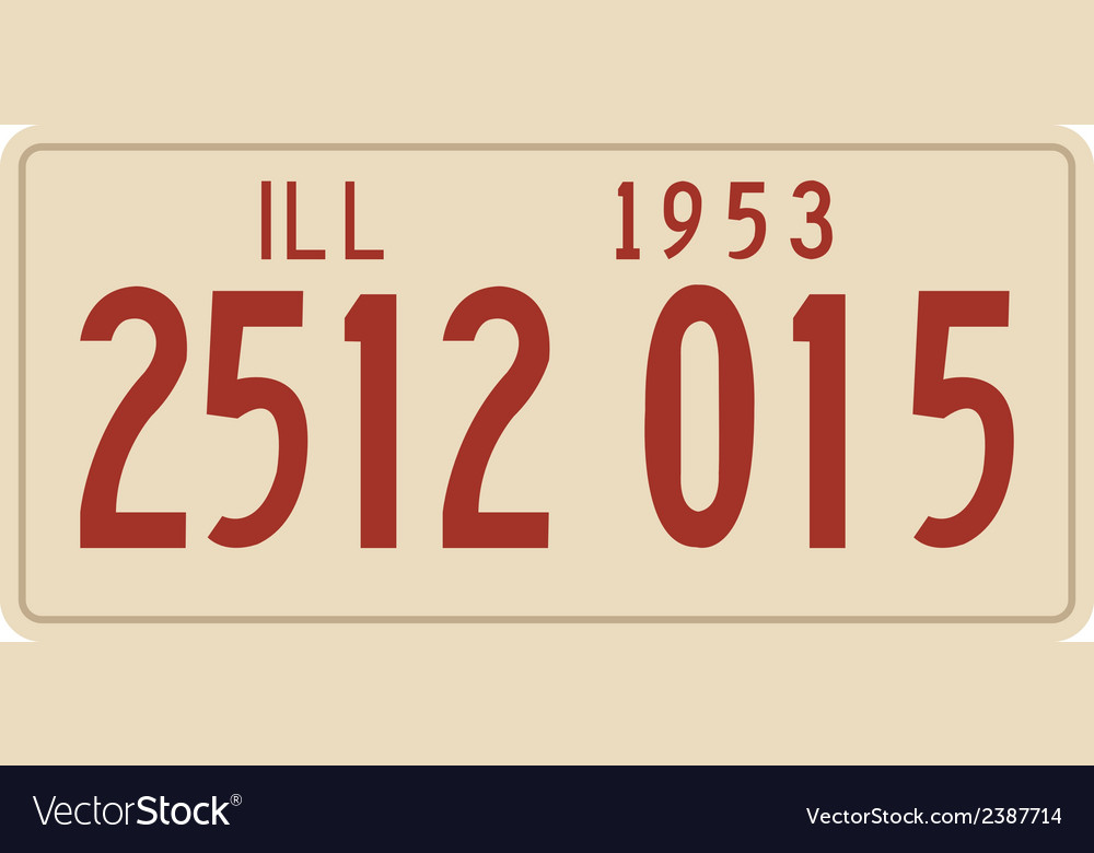 Illinois 1953 license plate vector | Price: 1 Credit (USD $1)