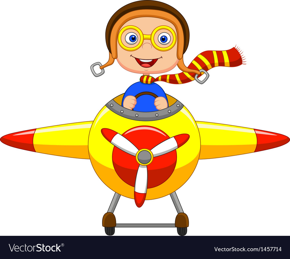 Little boy cartoon operating a plane vector | Price: 1 Credit (USD $1)