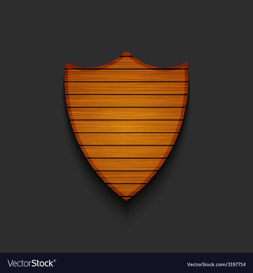 Modern wooden shield on gray background vector | Price: 1 Credit (USD $1)