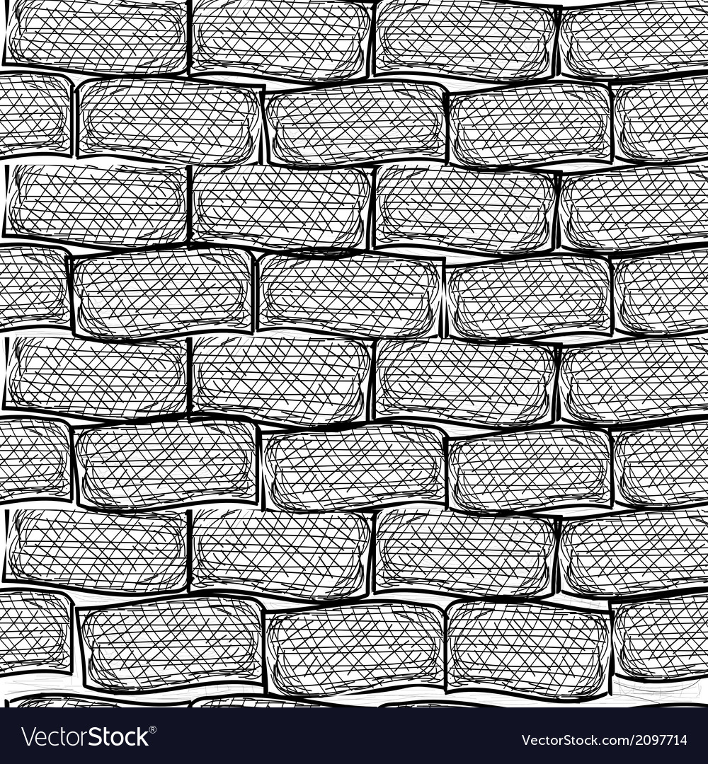Old bricks seamless doodle style vector | Price: 1 Credit (USD $1)
