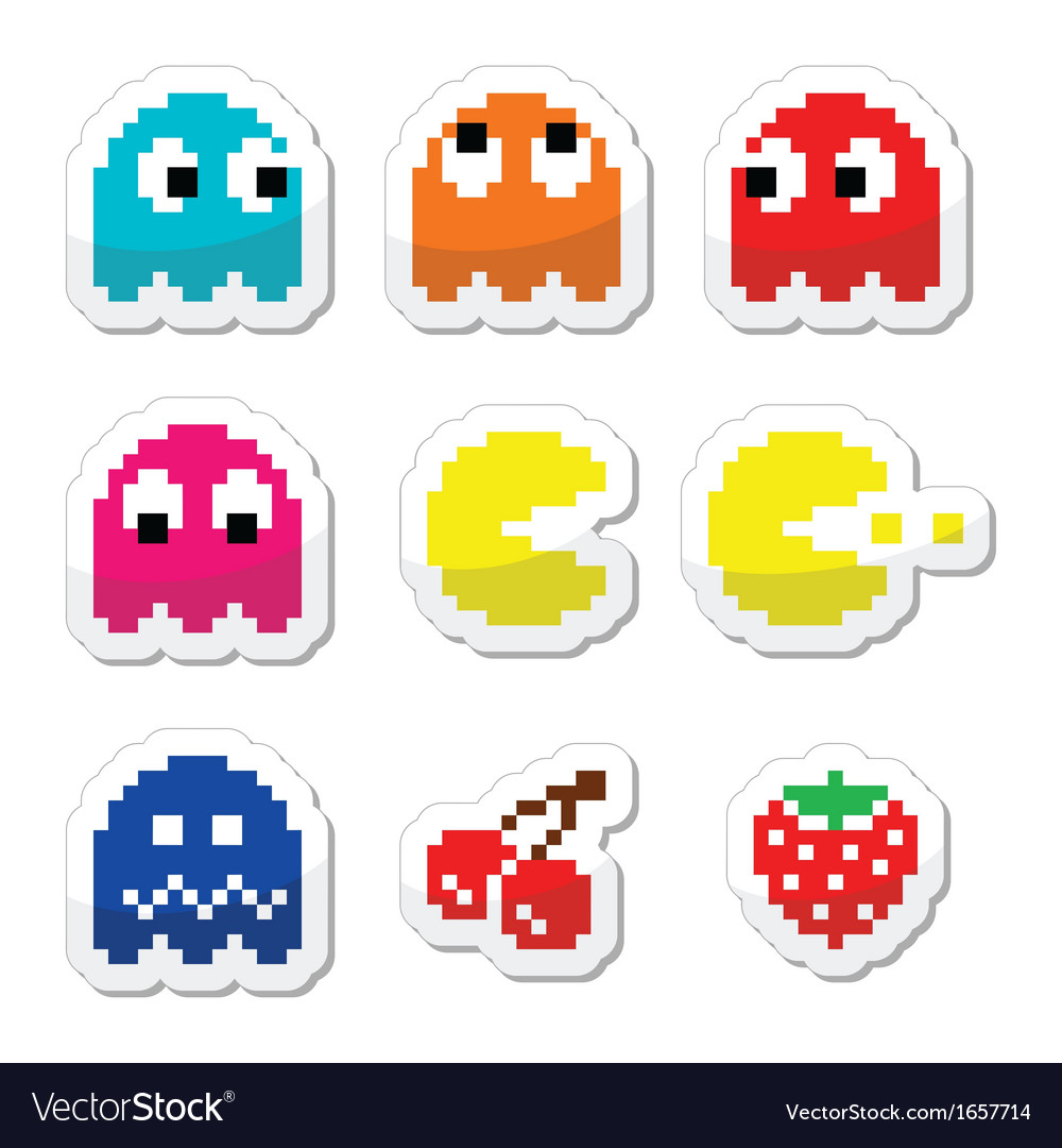 Pacman and ghosts 80s retro computer game icons vector | Price: 1 Credit (USD $1)