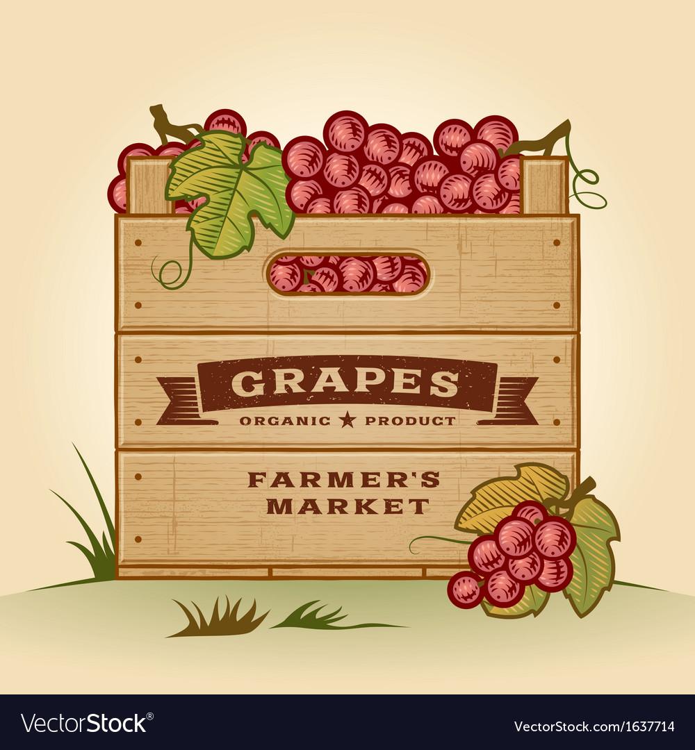 Retro crate of grapes vector | Price: 1 Credit (USD $1)