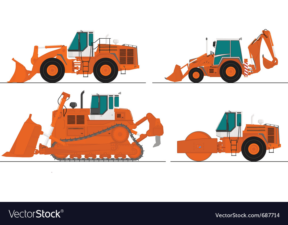 Set of four construction machines vector | Price: 3 Credit (USD $3)
