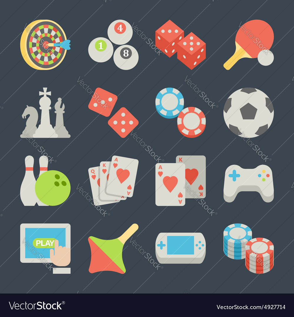Set of game icons in flat design style vector