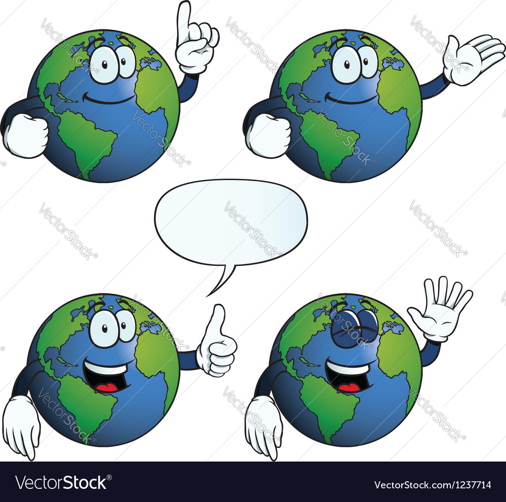 Smiling earth globe set vector | Price: 1 Credit (USD $1)