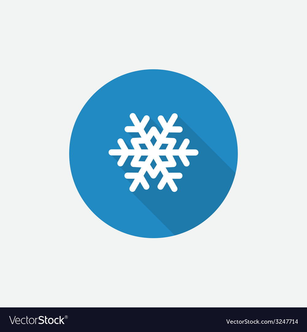 Snowflake flat blue simple icon with long shadow vector | Price: 1 Credit (USD $1)