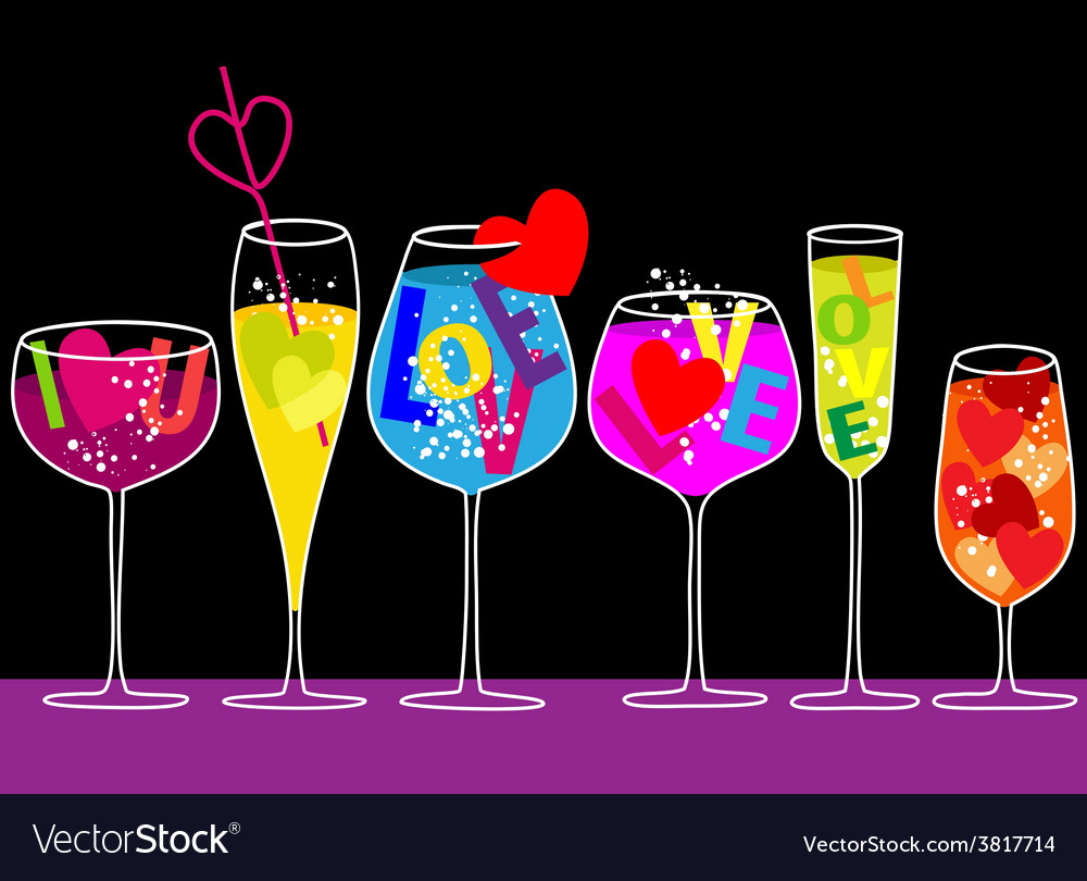 Valentine love drinks vector | Price: 1 Credit (USD $1)