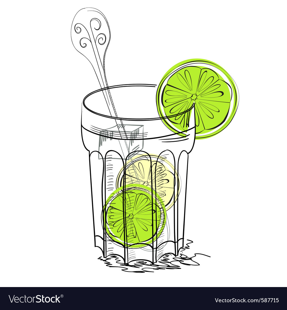 A glass of water with lime vector | Price: 1 Credit (USD $1)