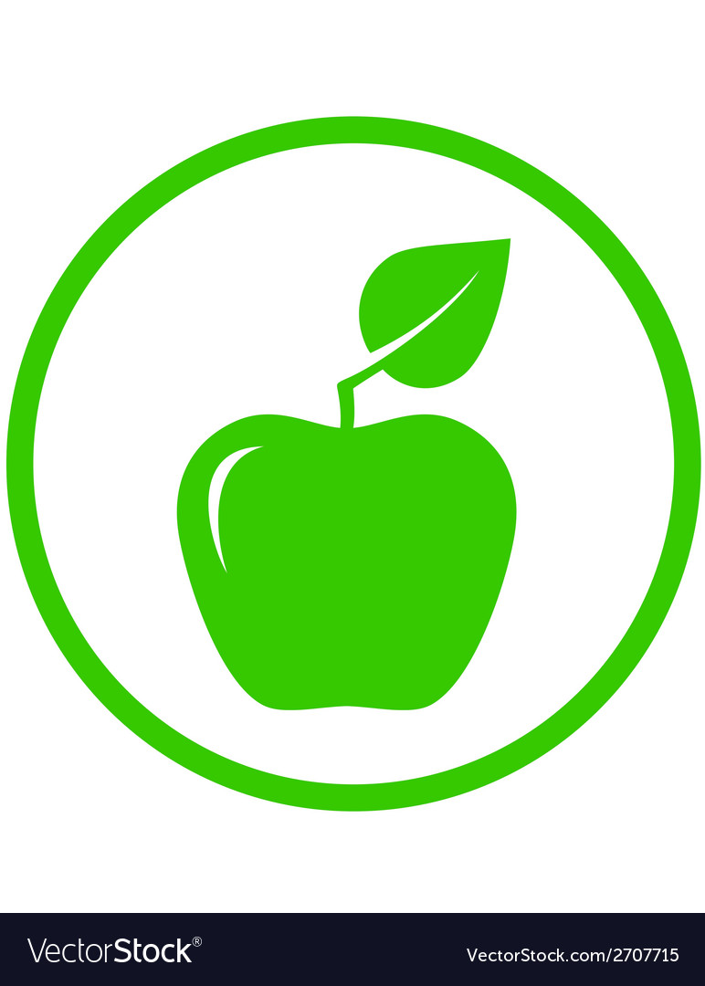 Apple with green leaf vector | Price: 1 Credit (USD $1)