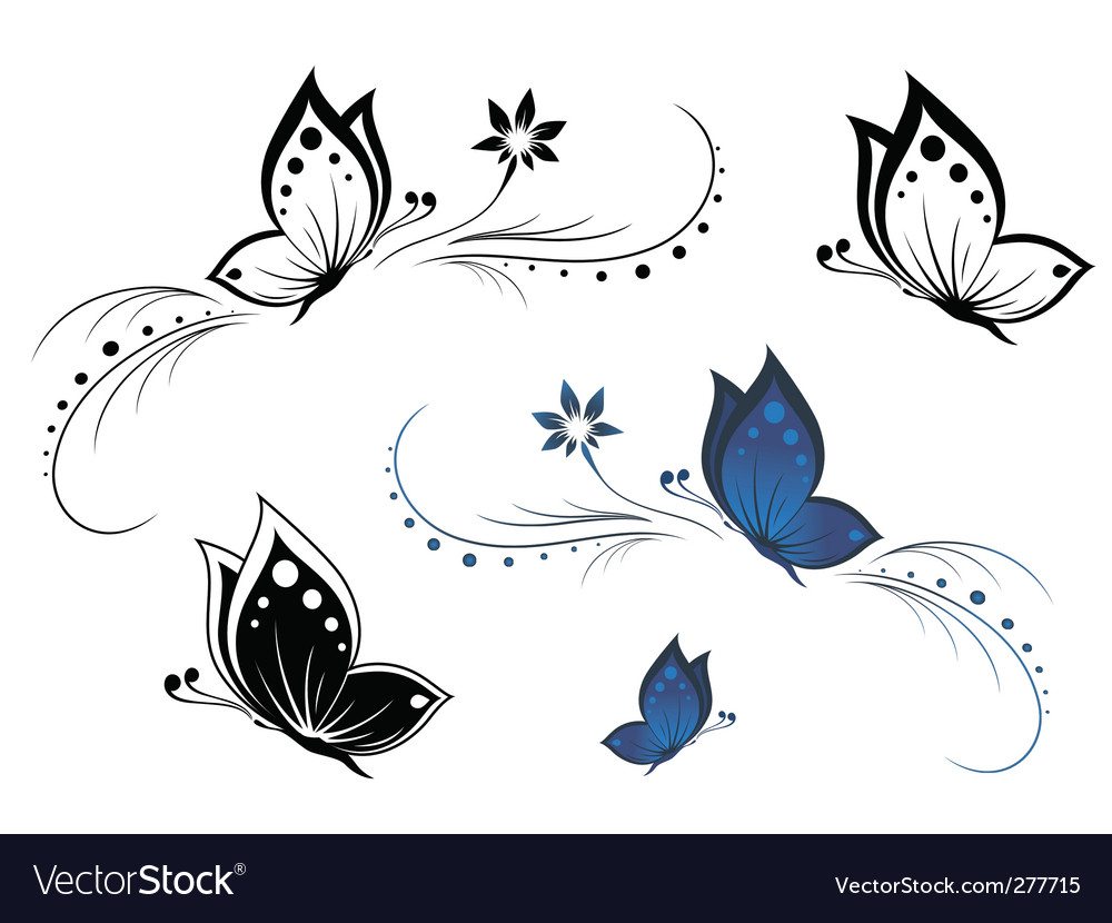 Butterflies with a flower pattern vector | Price: 1 Credit (USD $1)