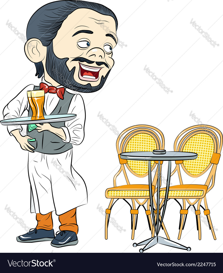 Cheerful waiter with a tray in a cafe vector | Price: 1 Credit (USD $1)
