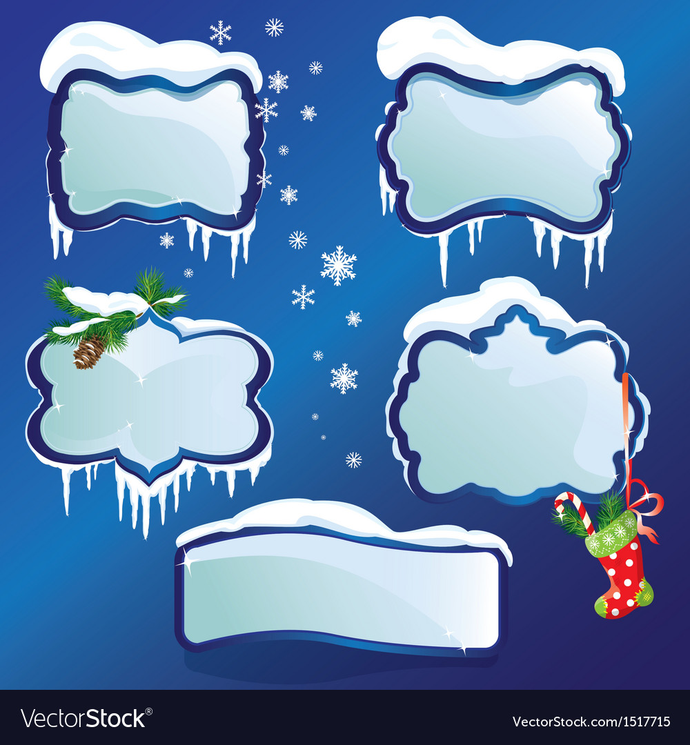 Collection of glossy winter frames with snowdrifts vector | Price: 1 Credit (USD $1)