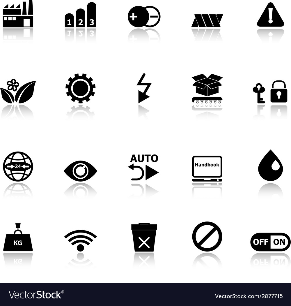Electronic sign icons with reflect on white vector | Price: 1 Credit (USD $1)