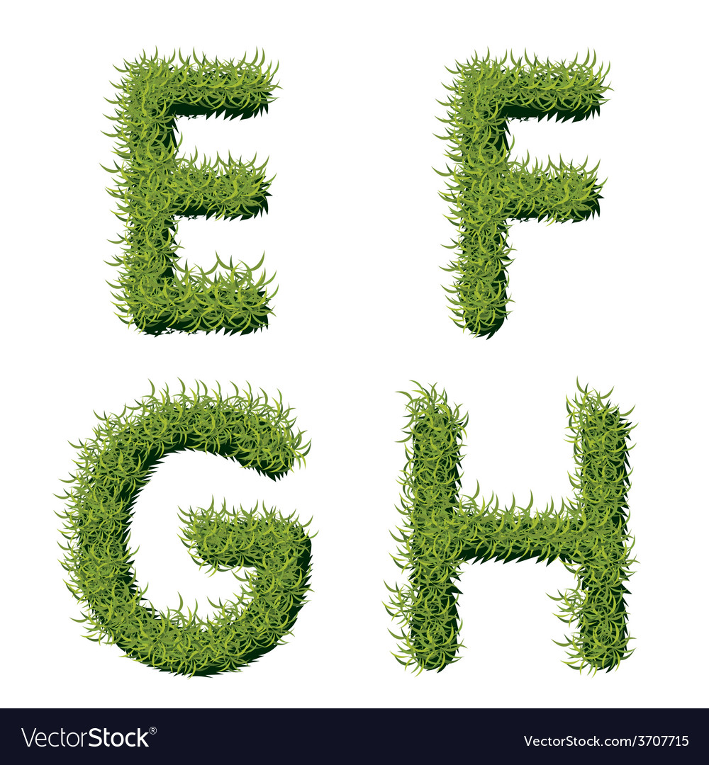Green grass alphabet e f g h vector | Price: 1 Credit (USD $1)