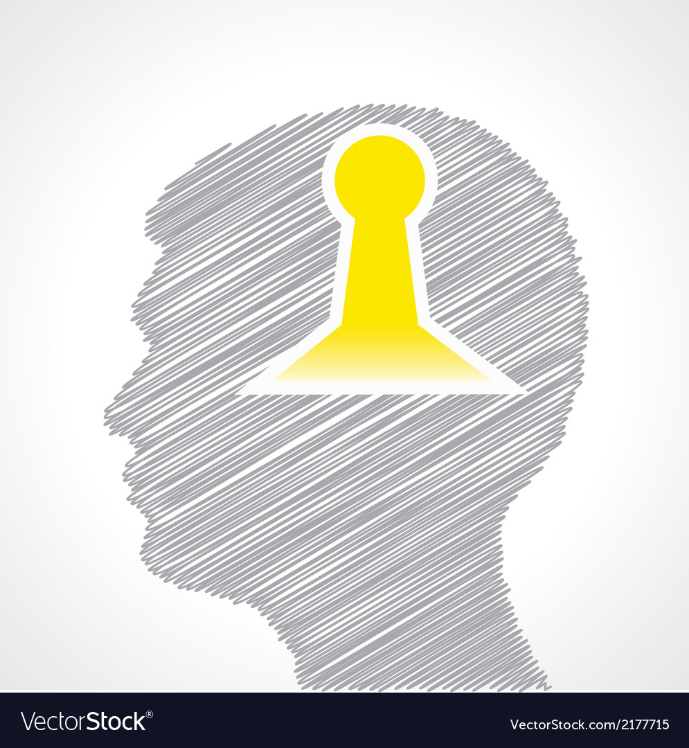 Hand drawn man s face with key hole in his head vector | Price: 1 Credit (USD $1)