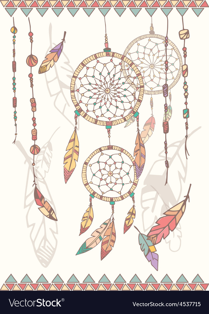 Hand drawn native american dream catcher beads vector | Price: 1 Credit (USD $1)