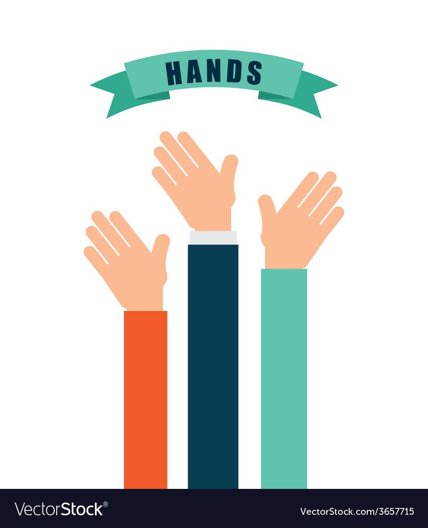 Hands up design vector | Price: 1 Credit (USD $1)