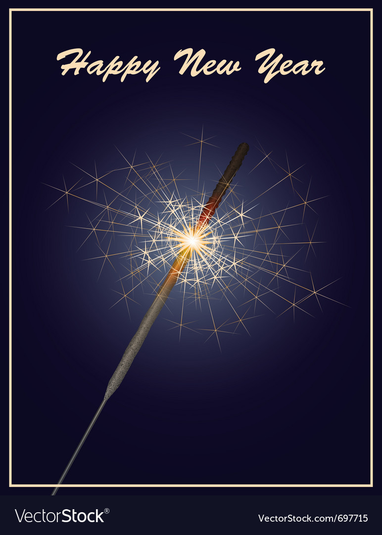 Happy new year greeting card with sparkler on dark vector | Price: 1 Credit (USD $1)