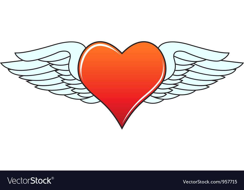 Heart with angelic wings vector | Price: 1 Credit (USD $1)