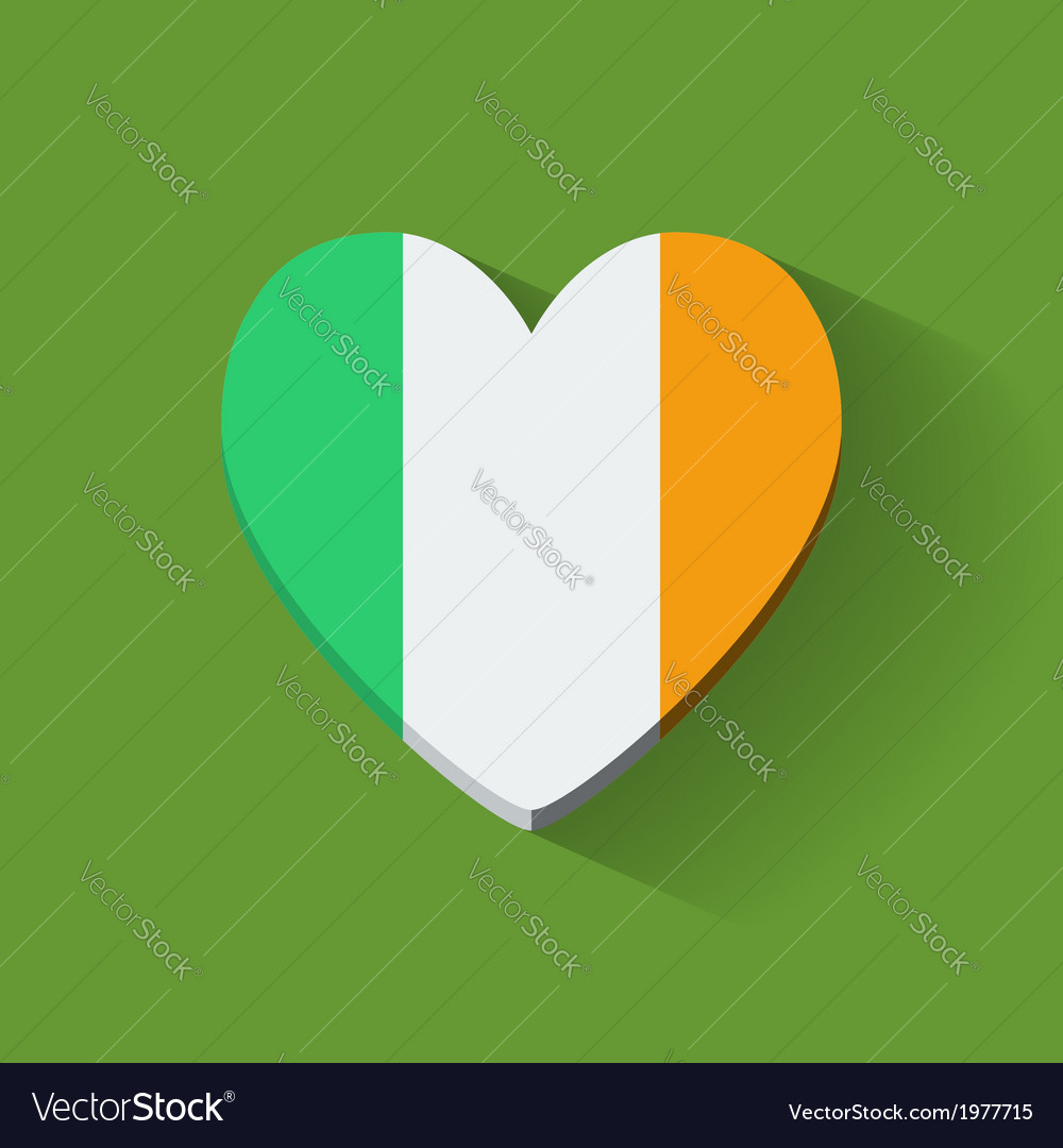 Heart-shaped icon with flag of ireland vector | Price: 1 Credit (USD $1)
