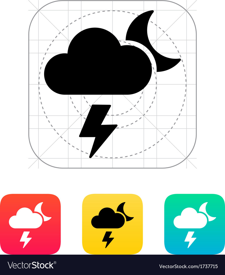 Lightning at night weather icon vector | Price: 1 Credit (USD $1)