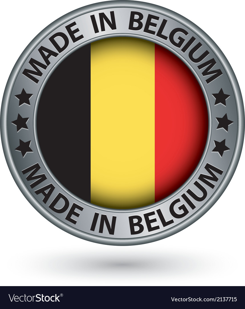 Made in belgium silver label with flag vector | Price: 1 Credit (USD $1)