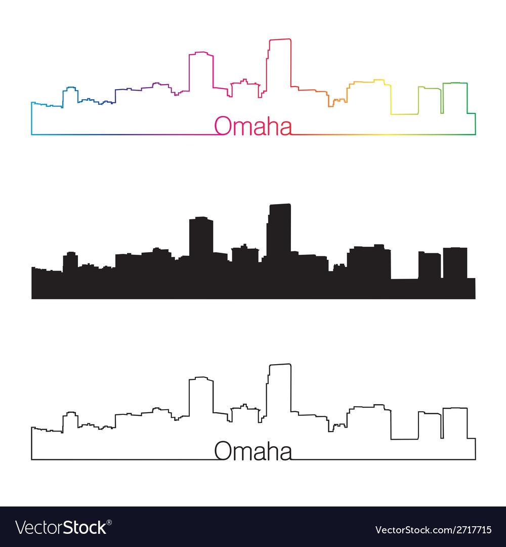 Omaha skyline linear style with rainbow vector | Price: 1 Credit (USD $1)