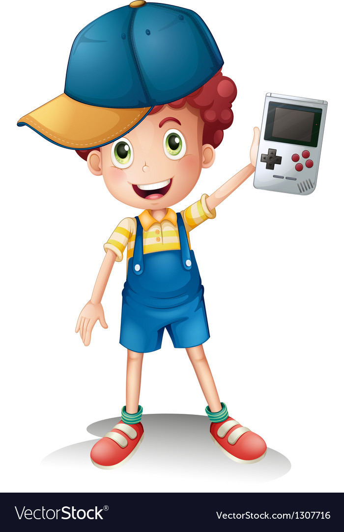 A boy holding a gameboy vector | Price: 1 Credit (USD $1)