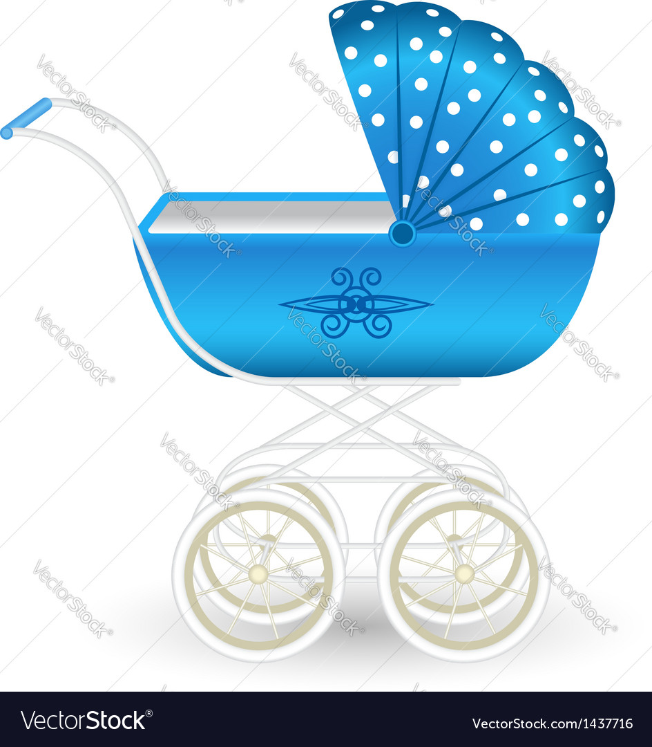 Blue pram vector | Price: 1 Credit (USD $1)
