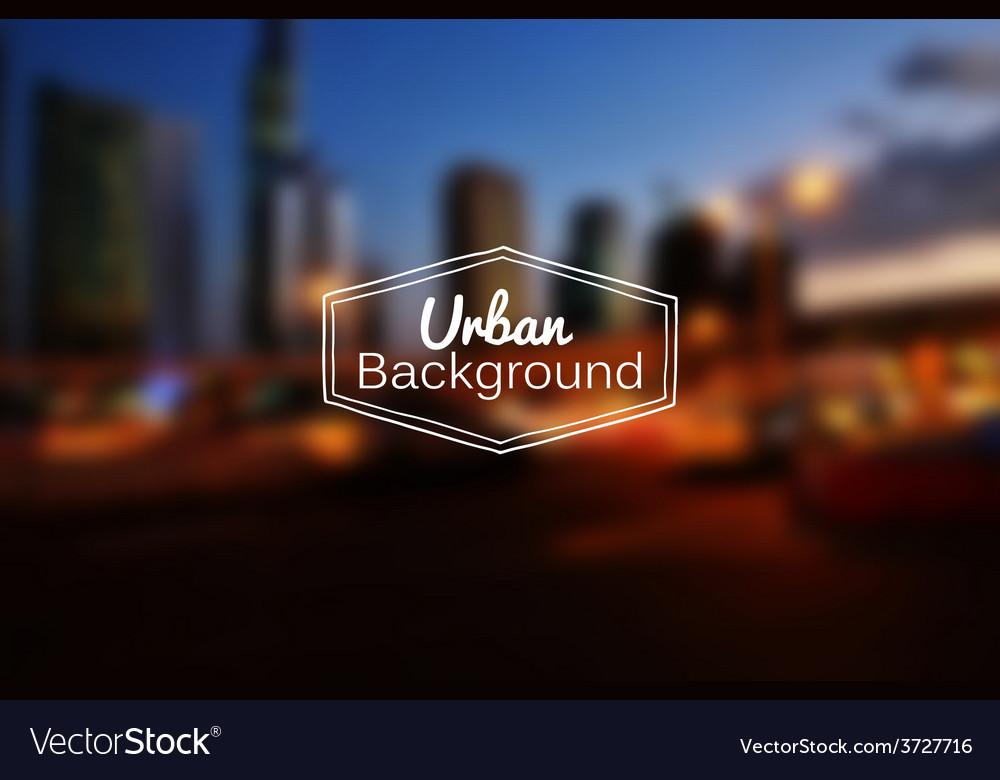 Blurred urban background night city vector | Price: 1 Credit (USD $1)