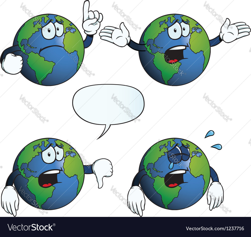 Crying earth globe set vector | Price: 1 Credit (USD $1)