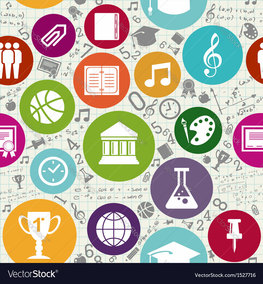 Education icons back to school seamless pattern vector | Price: 1 Credit (USD $1)