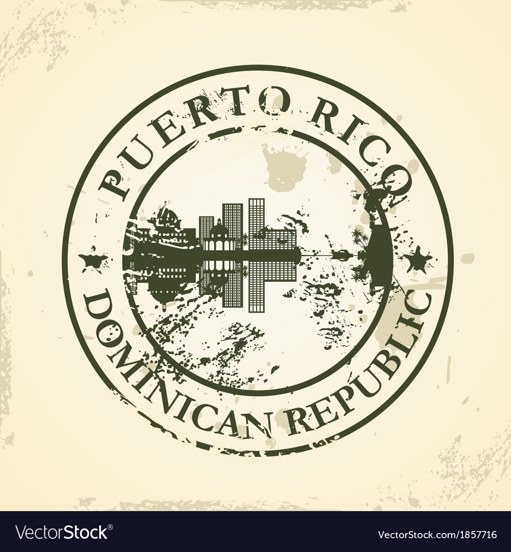 Grunge rubber stamp with puerto rico dominican vector | Price: 1 Credit (USD $1)