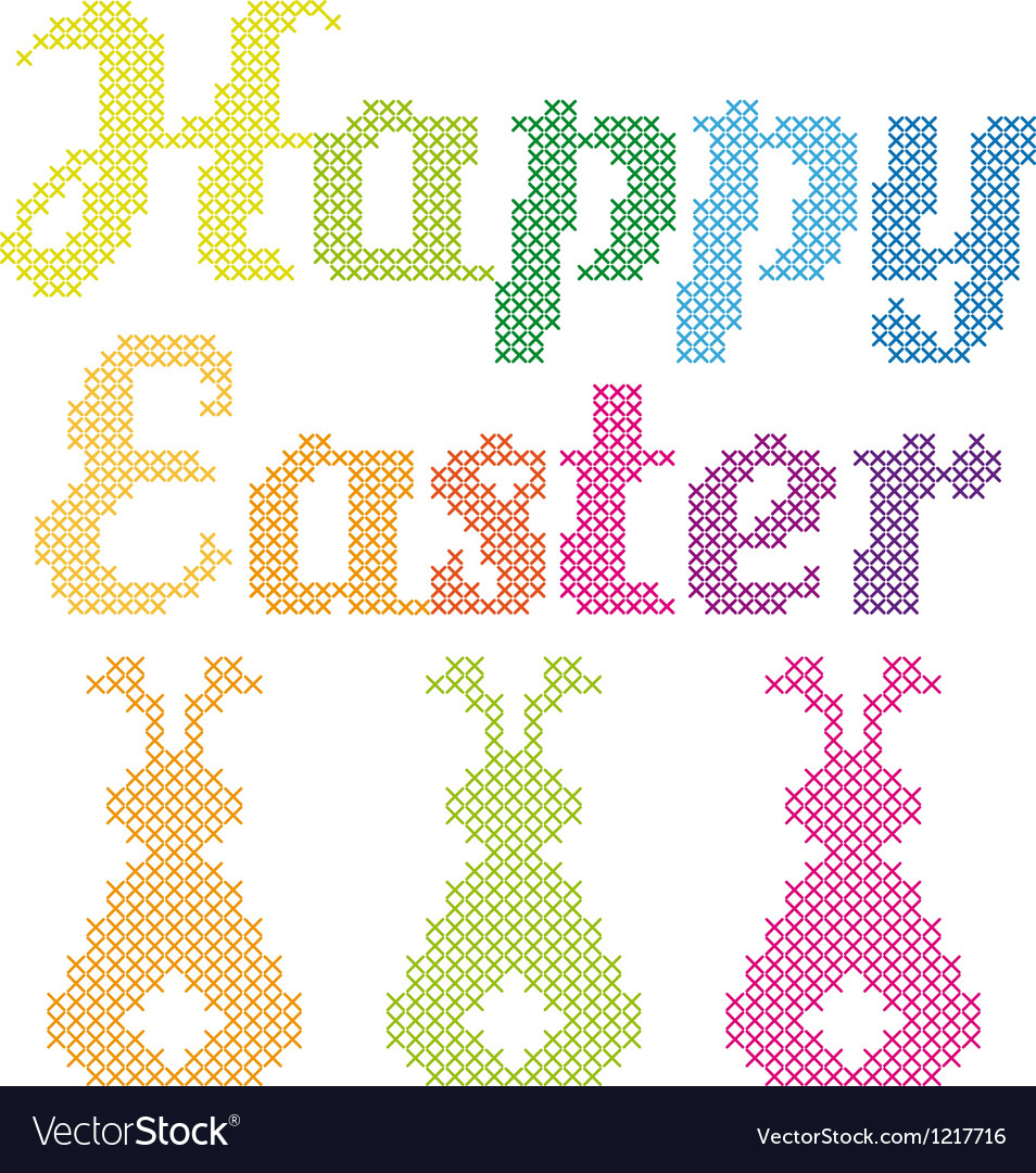Happy easter cross stitch pattern vector | Price: 1 Credit (USD $1)