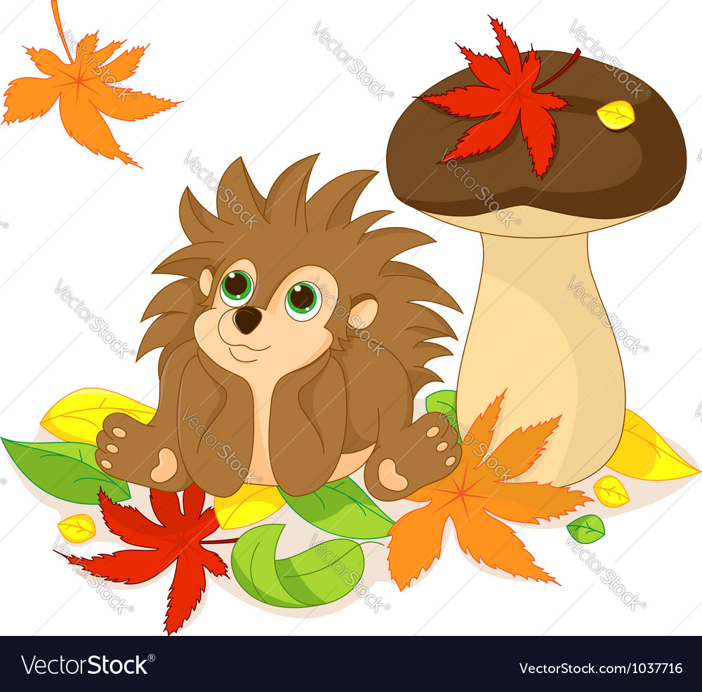Hedgehog and fall vector | Price: 1 Credit (USD $1)