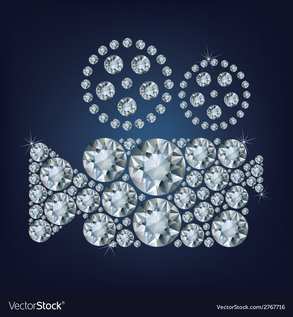 Movie camera icon made up a lot of diamonds vector   Price: 1 Credit (USD $1)