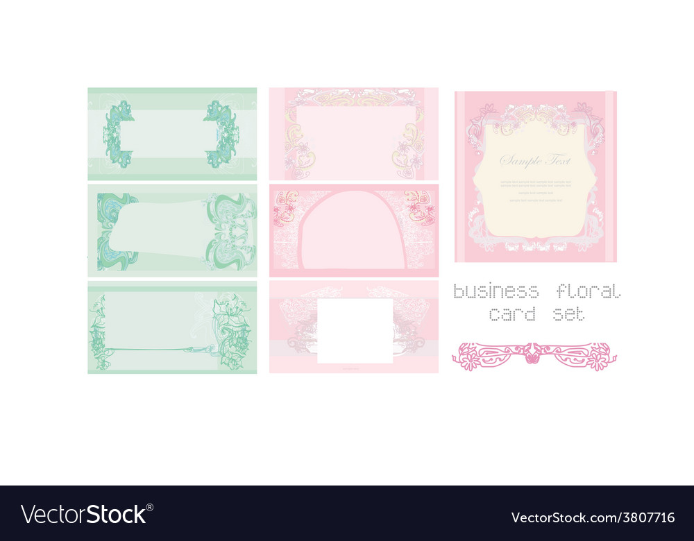 Pink and blue business floral card set vector | Price: 1 Credit (USD $1)