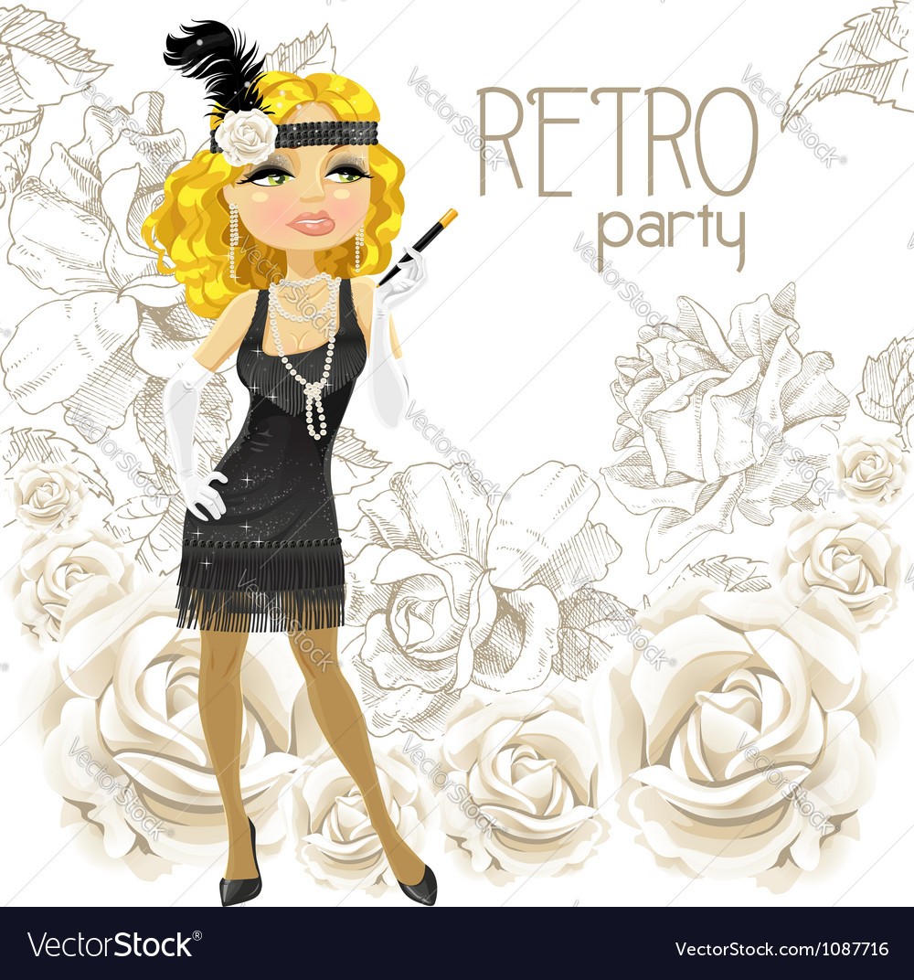 Retro glamour girl vector | Price: 1 Credit (USD $1)