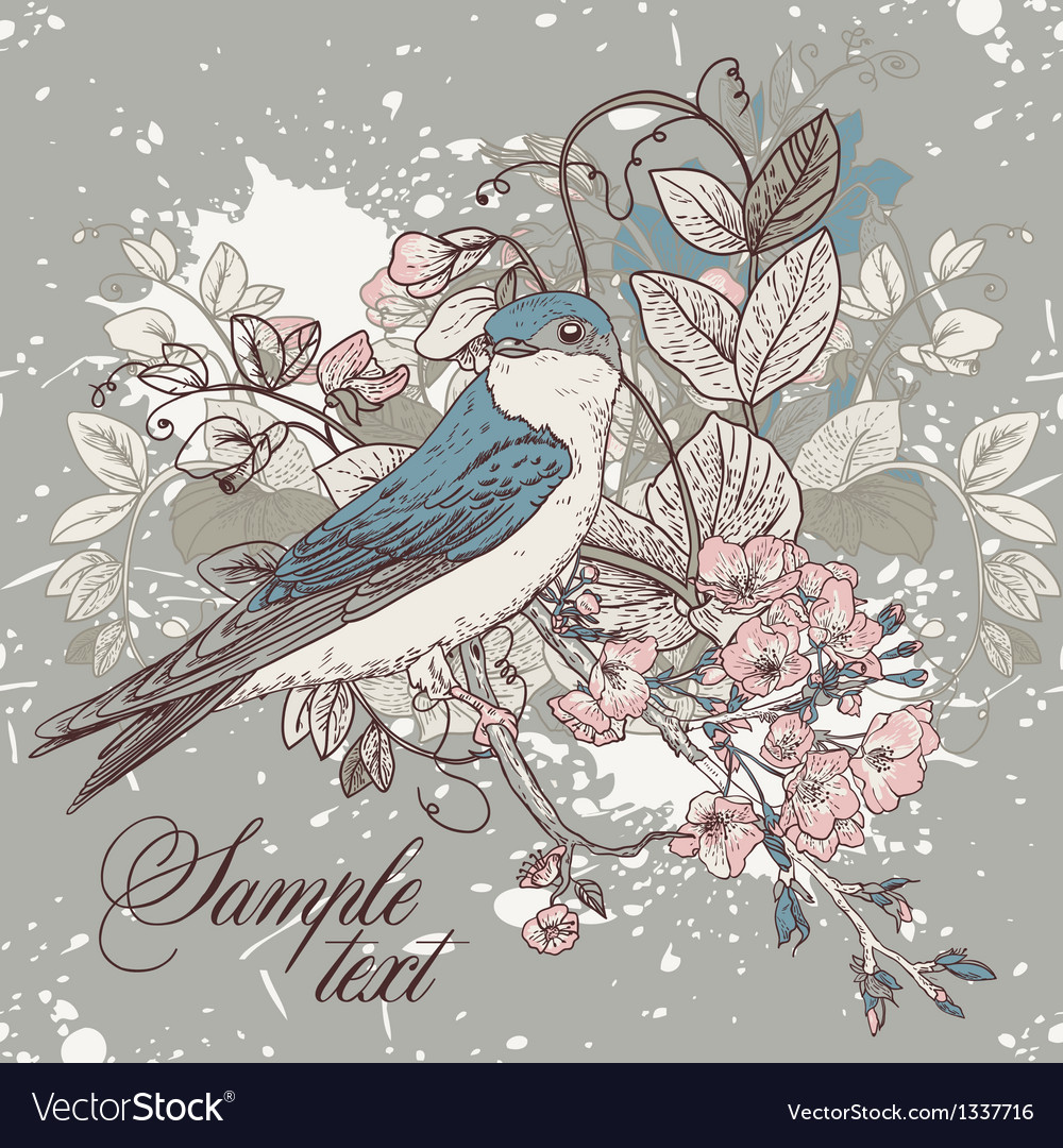 Seamless floral background with bird vector | Price: 3 Credit (USD $3)