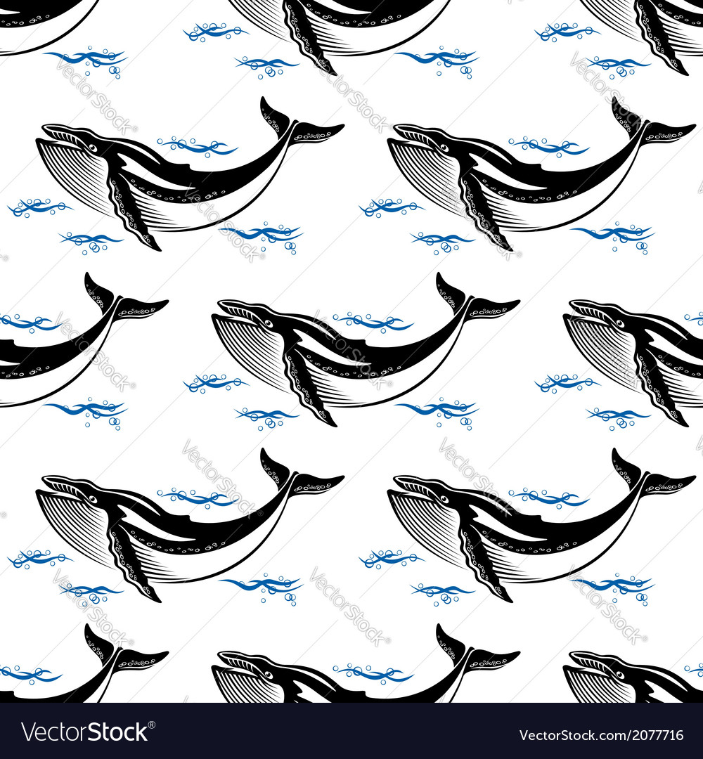 Swimming whale seamless pattern vector | Price: 1 Credit (USD $1)
