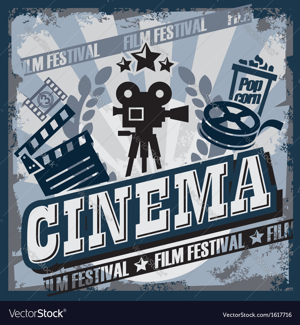 Vintage cinema sign vector | Price: 1 Credit (USD $1)