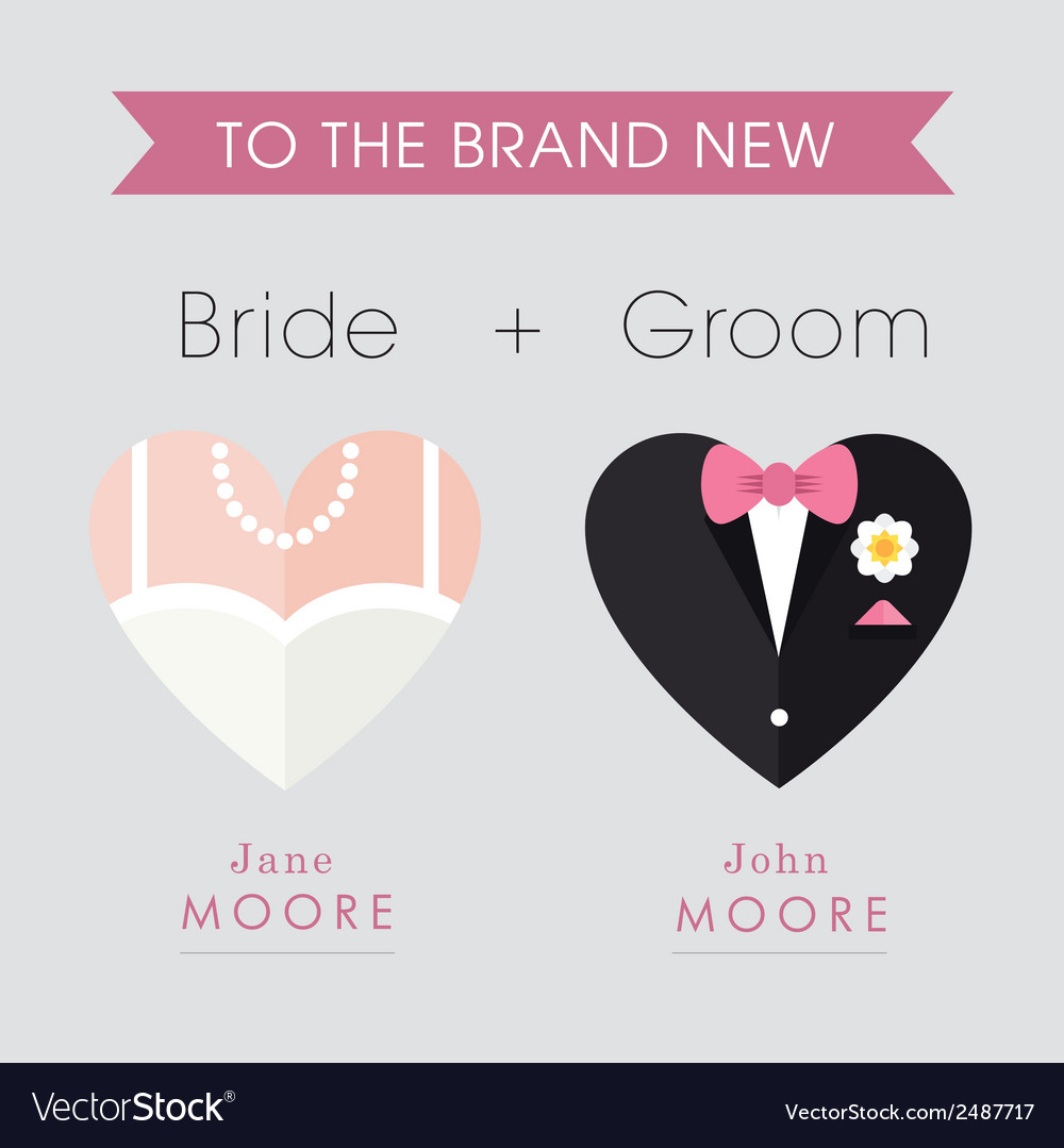 Bride and groom heart themed wedding card vector | Price: 1 Credit (USD $1)