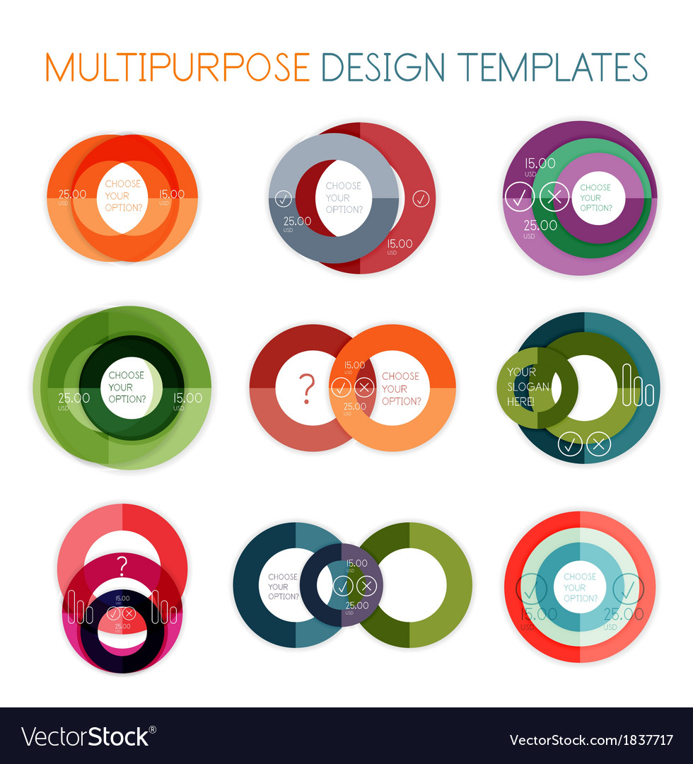 Collection of circle shaped multipurpose templates vector | Price: 1 Credit (USD $1)