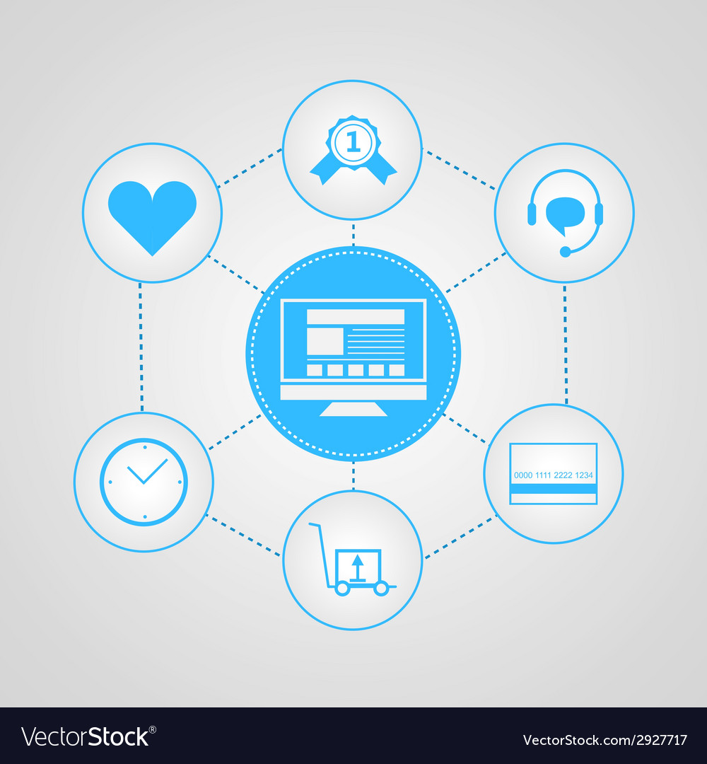 Flat icons for internet sales vector | Price: 1 Credit (USD $1)