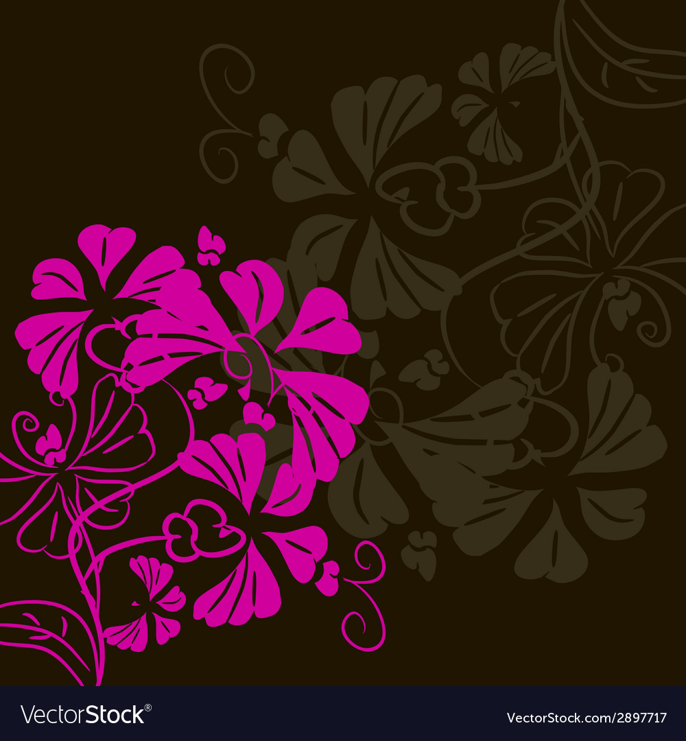 Flower on a black background postcard vector | Price: 1 Credit (USD $1)