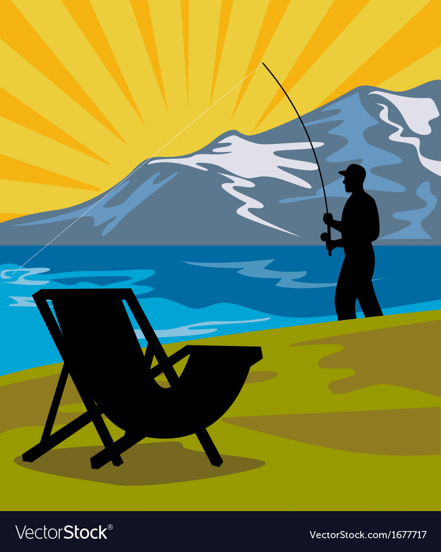 Fly fisherman fishing lake mountains chair vector | Price: 1 Credit (USD $1)