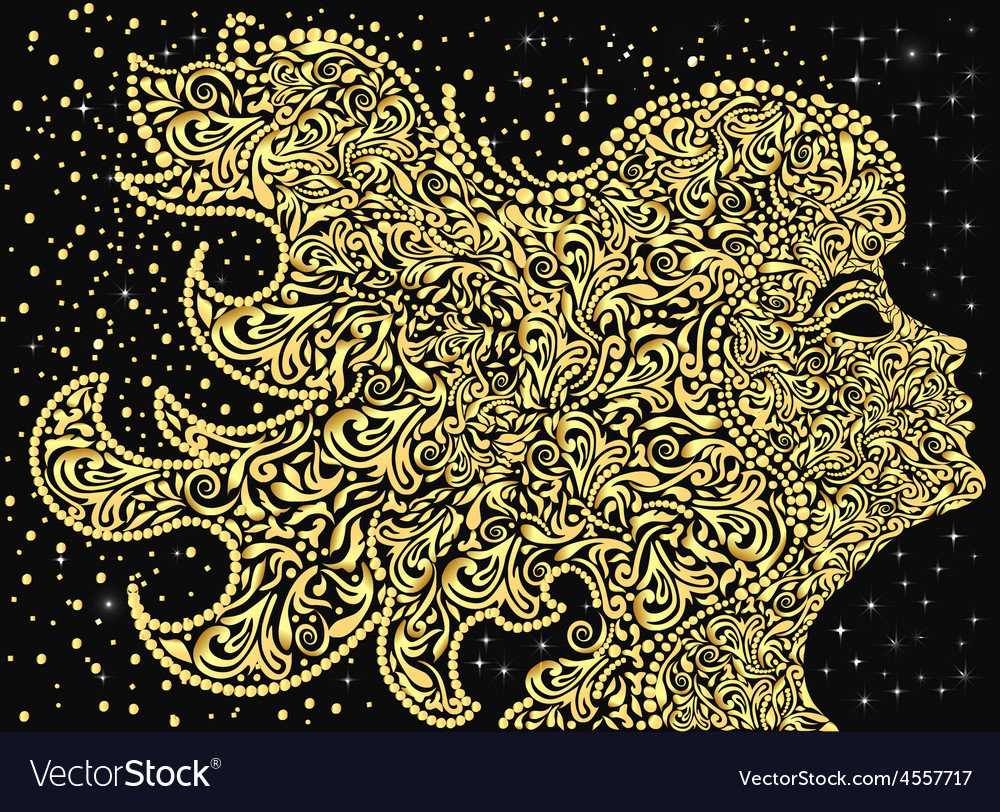 Girls face golden floral ornament with developing vector | Price: 1 Credit (USD $1)