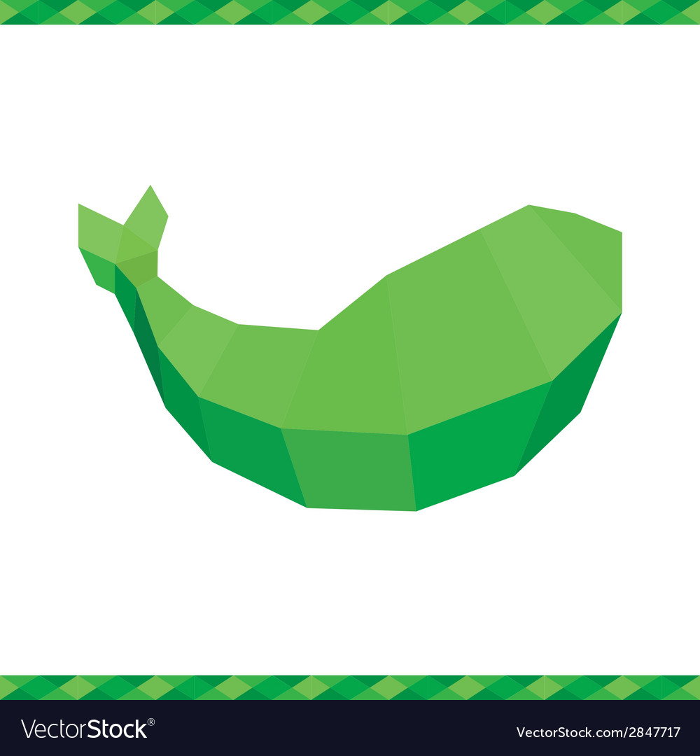 Green polygonal whale sign or logo vector | Price: 1 Credit (USD $1)
