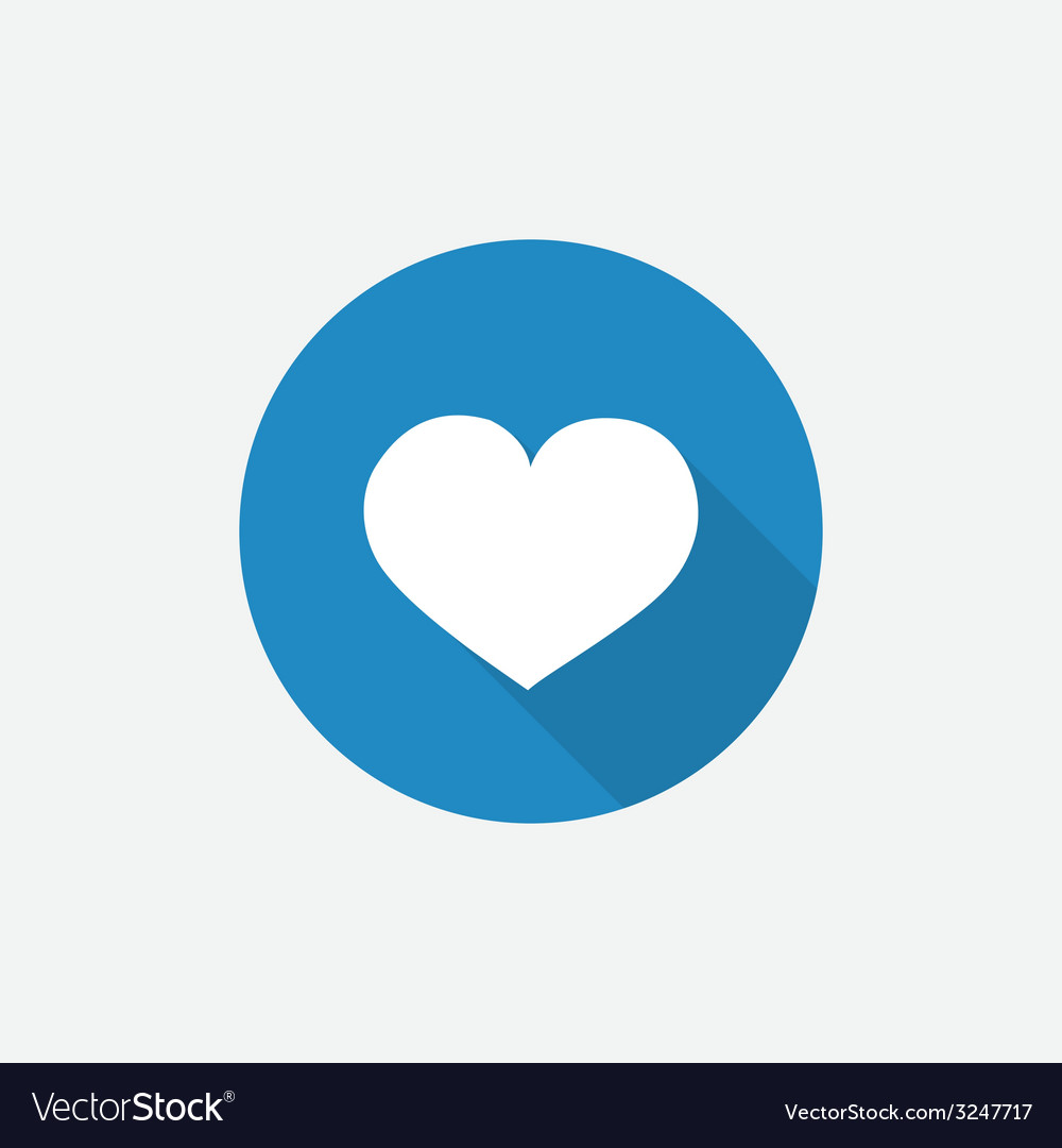 Heart flat blue simple icon with long shadow vector | Price: 1 Credit (USD $1)