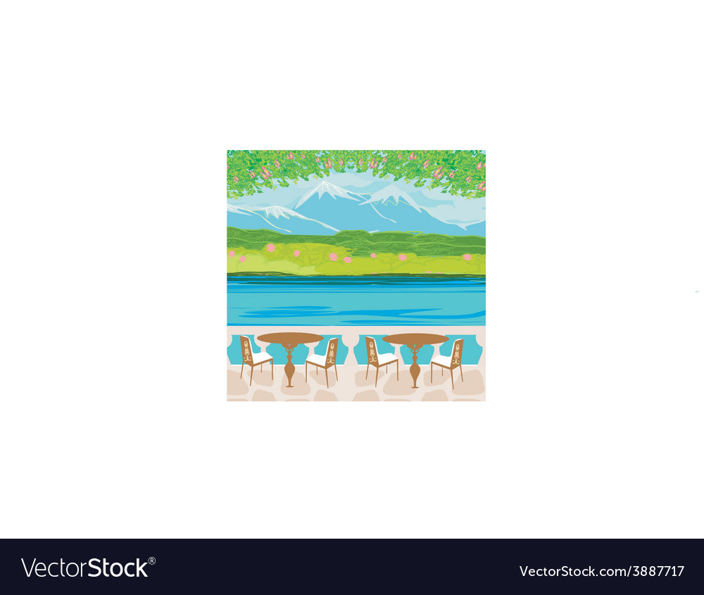 Landscape with mountains and cafe tables vector | Price: 1 Credit (USD $1)